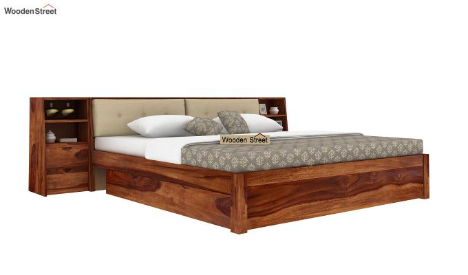 Bolivia Storage Bed With Bedside (King Size, Teak Finish)-2