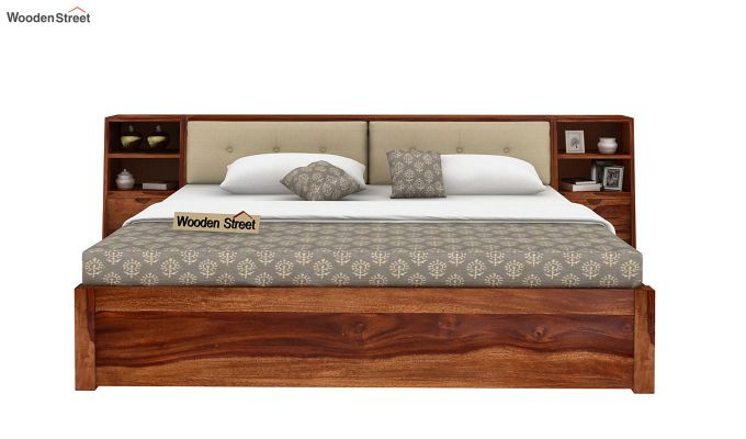Bolivia Storage Bed With Bedside (King Size, Teak Finish)-3