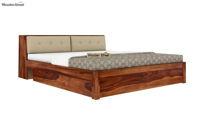 Bolivia Storage Bed With Bedside (King Size, Teak Finish)-4