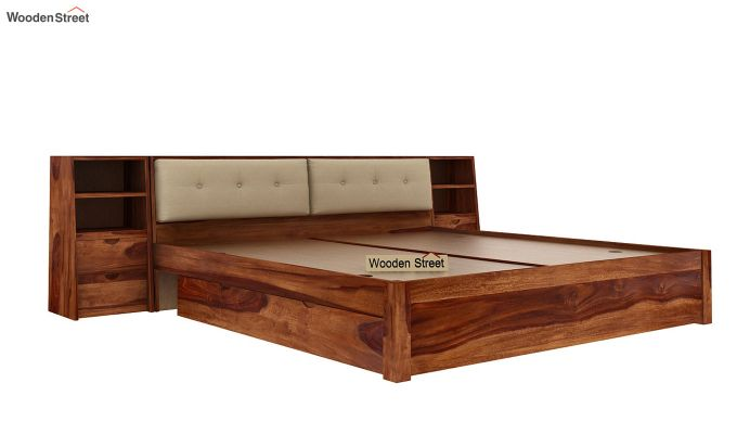 Bolivia Storage Bed With Bedside (King Size, Teak Finish)-7