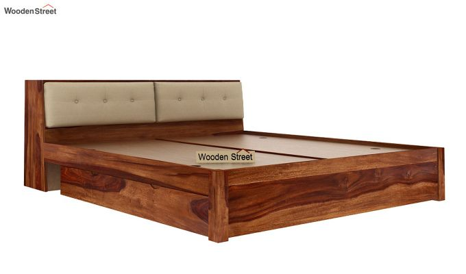 Bolivia Storage Bed With Bedside (King Size, Teak Finish)-8