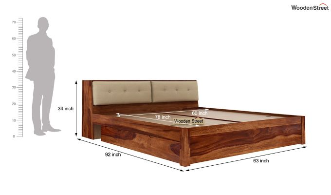 Bolivia Storage Bed With Bedside (Queen Size, Teak Finish)-9