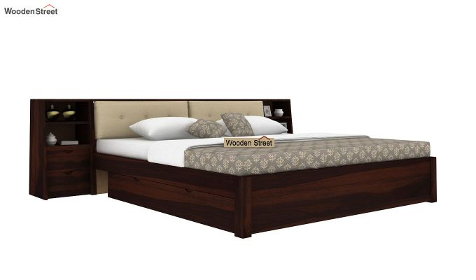 Bolivia Storage Bed With Bedside (Queen Size, Walnut Finish)-1