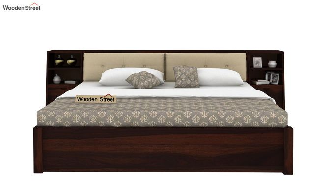 Bolivia Storage Bed With Bedside (King Size, Walnut Finish)-2