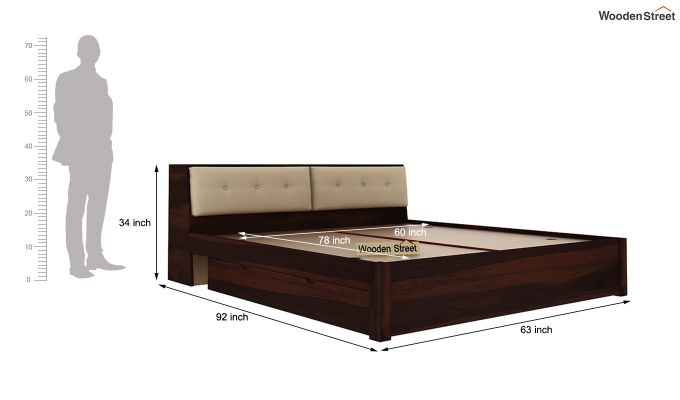 Bolivia Storage Bed With Bedside (Queen Size, Walnut Finish)-8