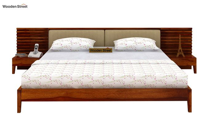 Breo Bed Without Storage (Queen Size, Honey Finish)-2