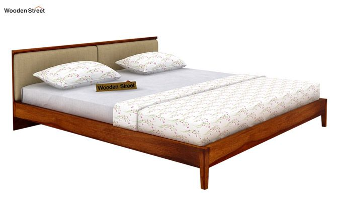 Breo Bed Without Storage (Queen Size, Honey Finish)-4