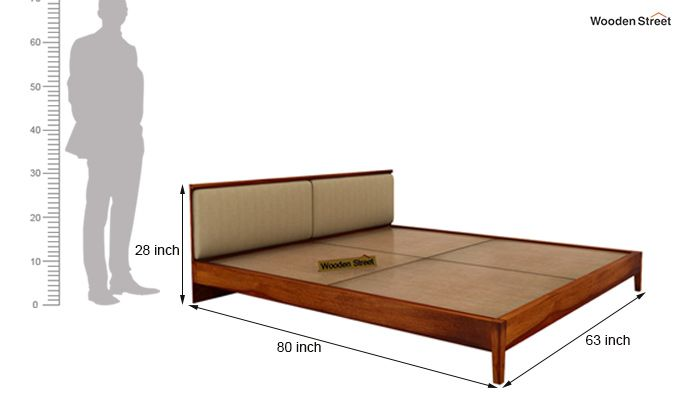 Breo Bed Without Storage (Queen Size, Honey Finish)-9