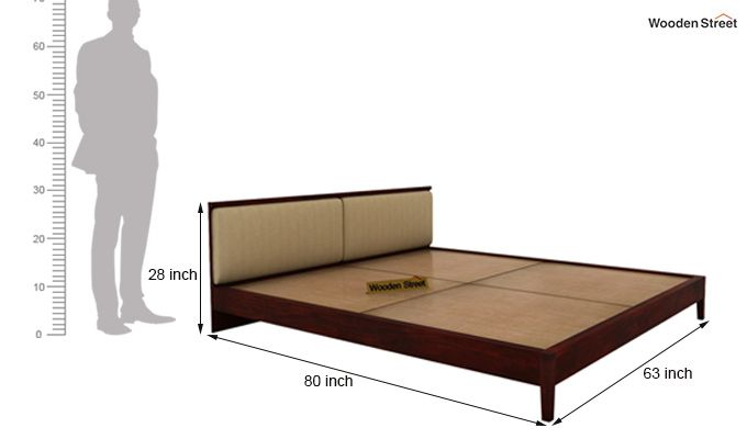 Breo Bed Without Storage (Queen Size, Mahogany Finish)-9