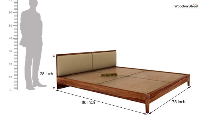 Breo Bed Without Storage (King Size, Teak Finish)-10