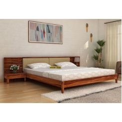 Breo Bed Without Storage (King Size, Teak Finish)