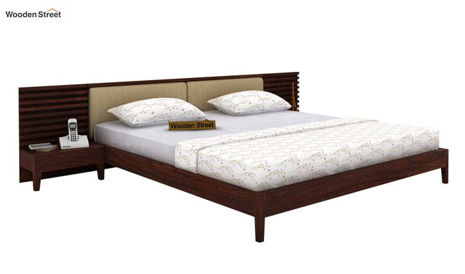 Breo Bed Without Storage (King Size, Walnut Finish)-1