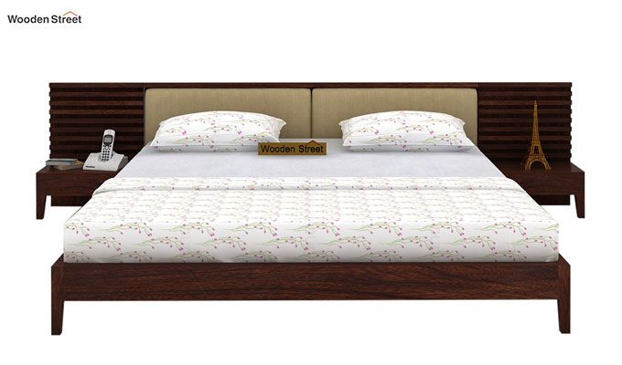 Breo Bed Without Storage (Queen Size, Walnut Finish)-2