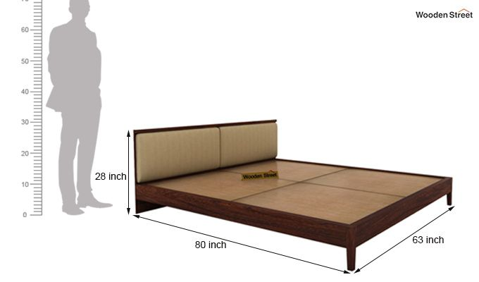 Breo Bed Without Storage (Queen Size, Walnut Finish)-9
