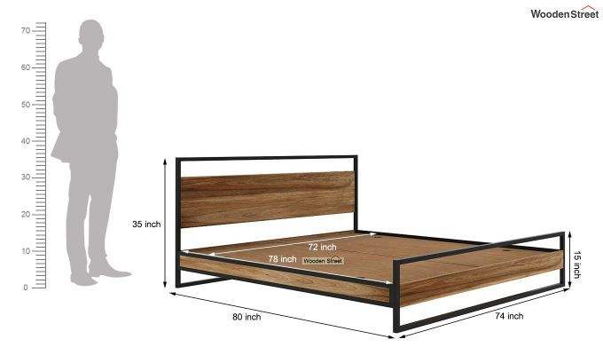 Bron Loft Bed Without Storage (King Size, Natural Finish) (King Size,Natural Finish)-6