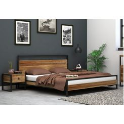 Bron Loft Bed Without Storage (King Size, Natural Finish)