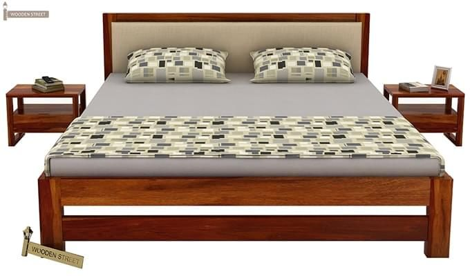 Bryson Bed Without Storage (King Size, Honey Finish)-3