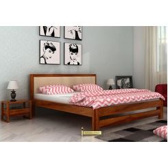 Bryson Bed Without Storage (Queen Size, Honey Finish)