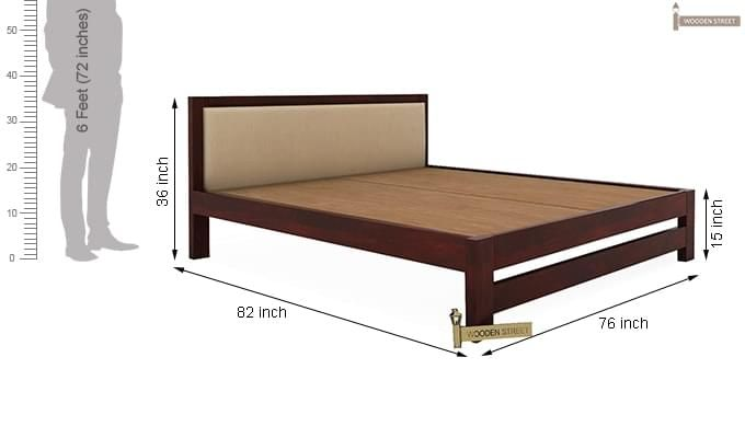 Bryson Bed Without Storage (King Size, Mahogany Finish)-8