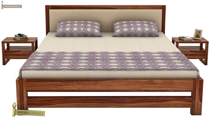 Bryson Bed Without Storage (Queen Size, Teak Finish)-2
