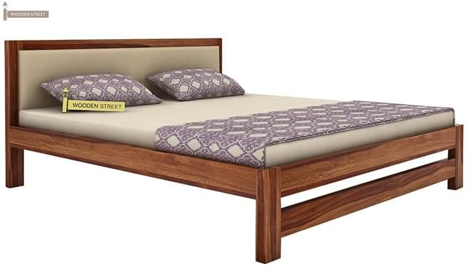 Bryson Bed Without Storage (Queen Size, Teak Finish)-3