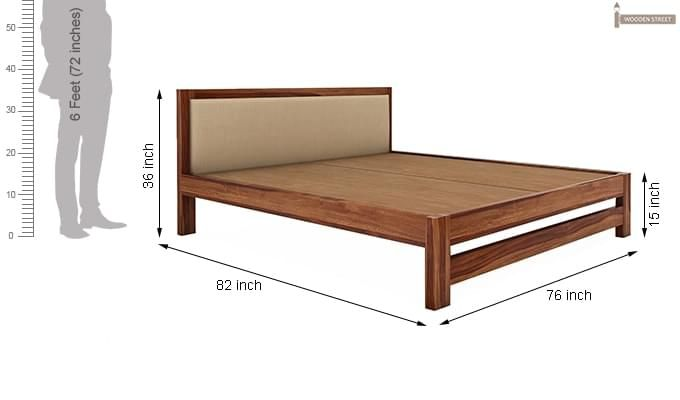 Bryson Bed Without Storage (King Size, Teak Finish)-8