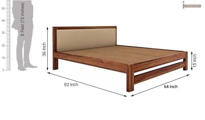 Bryson Bed Without Storage (Queen Size, Teak Finish)-8
