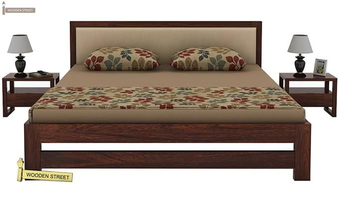 Bryson Bed Without Storage (King Size, Walnut Finish)-2