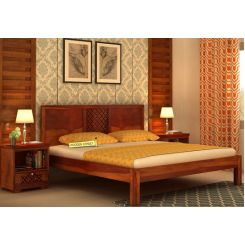Cambrey Bed Without Storage (Queen Size, Honey Finish)