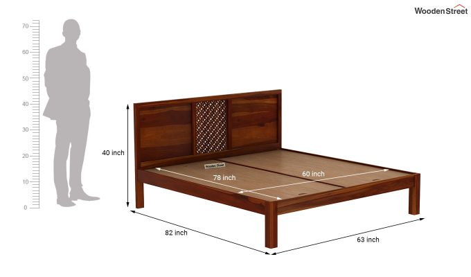 Cambrey Bed Without Storage (Queen Size, Honey Finish)-7