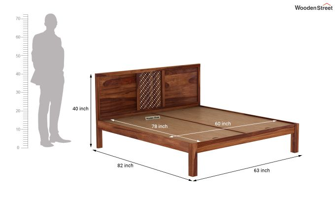 Cambrey Bed Without Storage (Queen Size, Teak Finish)-7