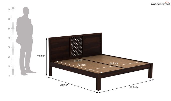 Cambrey Bed Without Storage (Queen Size, Walnut Finish)-7