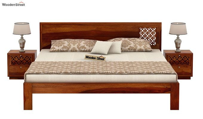 Cambrey Designed Bed Without Storage (Queen Size, Honey Finish)-3