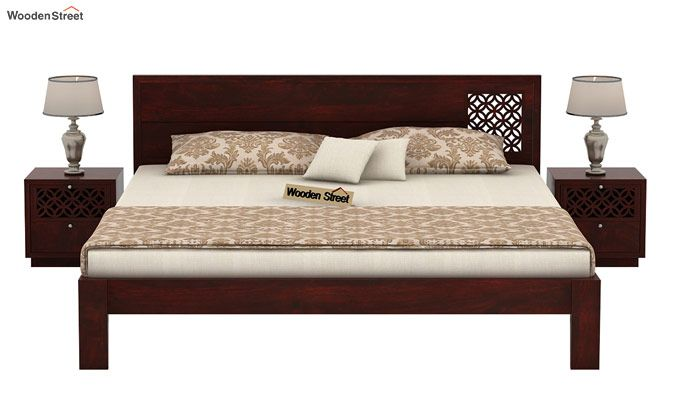 Cambrey Designed Bed Without Storage (Queen Size, Mahogany Finish)-2