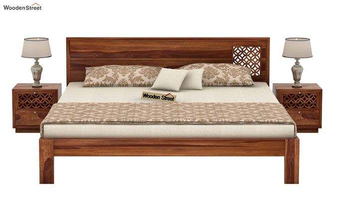 Cambrey Designed Bed Without Storage (Queen Size, Teak Finish)-2