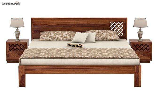 Cambrey Designed Bed Without Storage (King Size, Teak Finish)-2