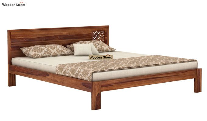 Cambrey Designed Bed Without Storage (Queen Size, Teak Finish)-3