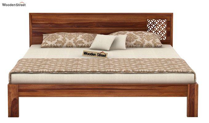 Cambrey Designed Bed Without Storage (King Size, Teak Finish)-4