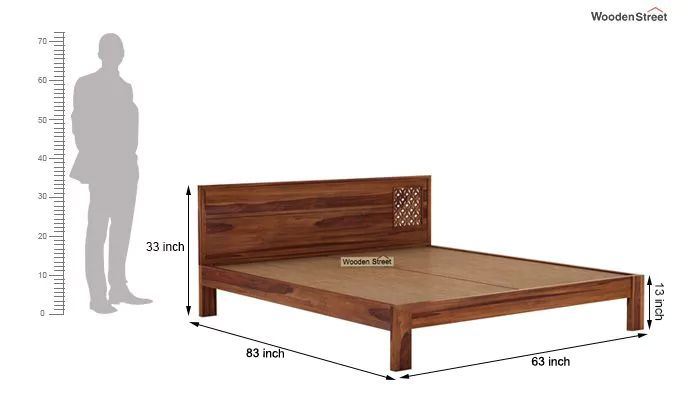 Cambrey Designed Bed Without Storage (Queen Size, Teak Finish)-7
