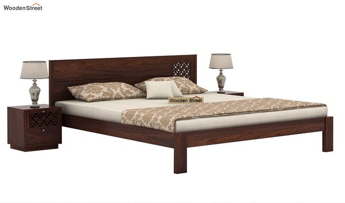 Cambrey Designed Bed Without Storage (King Size, Walnut Finish)-1