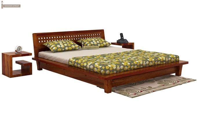 Carden Low Floor Platform Bed (Queen Size, Honey Finish)-2