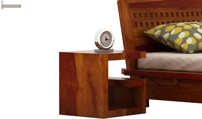 Carden Low Floor Platform Bed (King Size, Honey Finish)-4