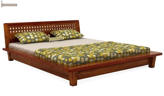 Carden Low Floor Platform Bed (Queen Size, Honey Finish)-5