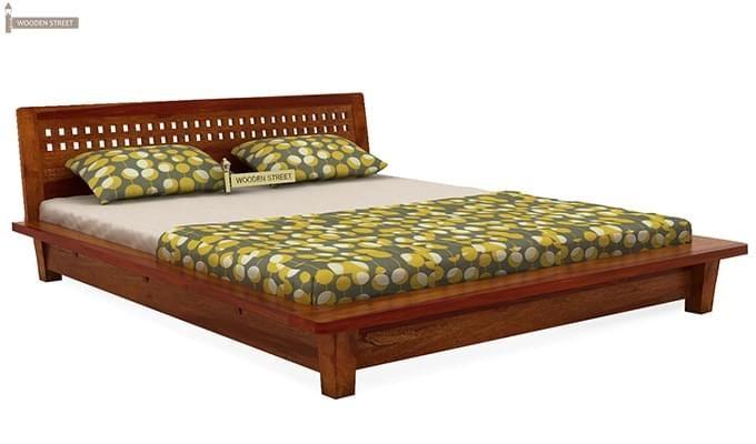Carden Low Floor Platform Bed (King Size, Honey Finish)-5