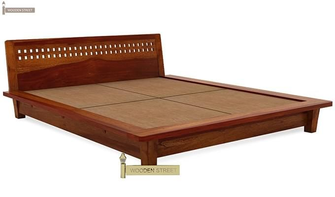 Carden Low Floor Platform Bed (King Size, Honey Finish)-6