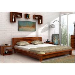 Carden Low Floor Platform Bed (King Size, Honey Finish)