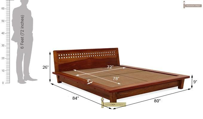 Carden Low Floor Platform Bed (King Size, Honey Finish)-10