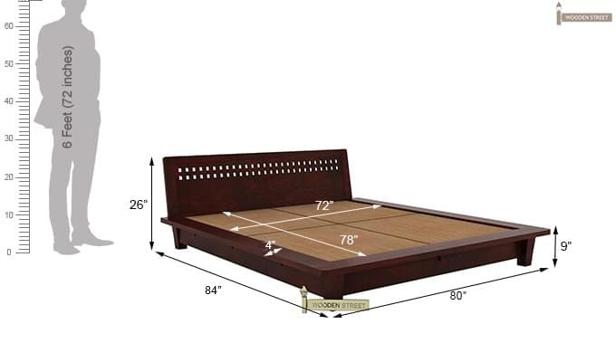 Carden Low Floor Platform Bed (King Size, Mahogany Finish)-9