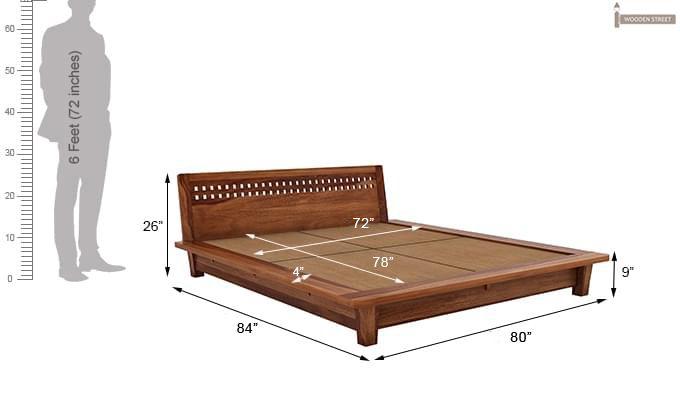 Carden Low Floor Platform Bed (King Size, Teak Finish)-9