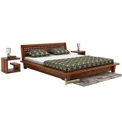 Carden Low Floor Platform Bed (Queen Size, Teak Finish)
